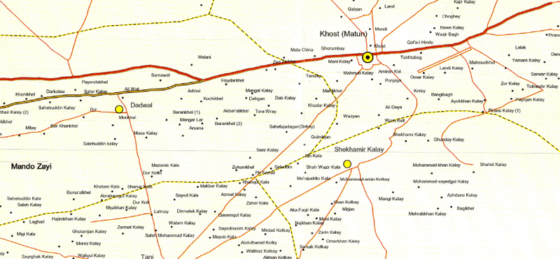 Battle Archives Map Khost Province, Afghanistan