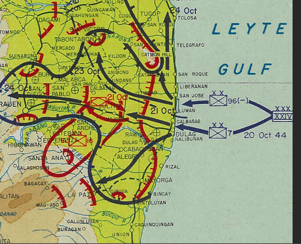 Battle Archives Map Leyte, Philippines Landing and Engagement Battle Map
