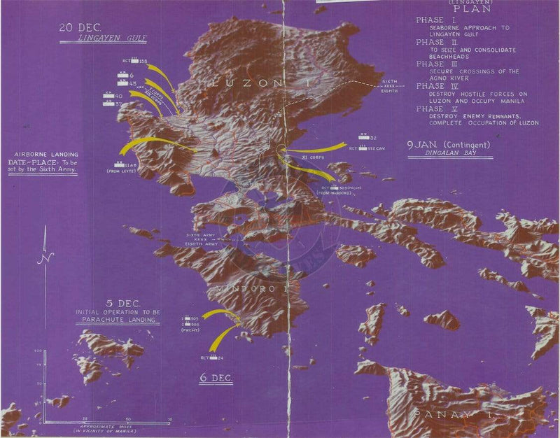 Battle Archives Map Lingayen Gulf, Philippines