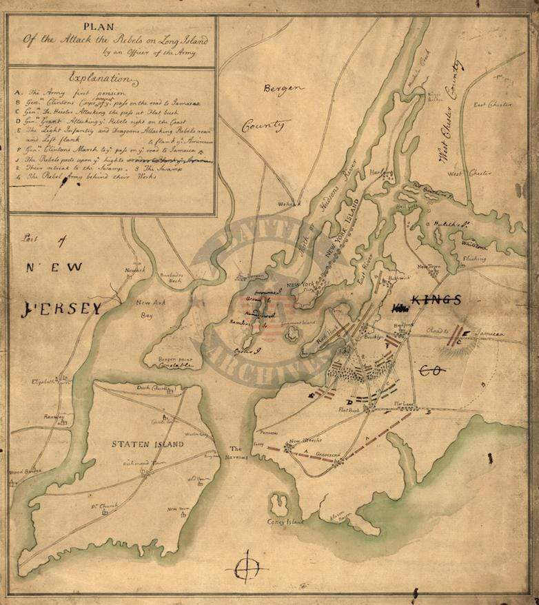 Battle Archives Map Long Island (or Brooklyn or Brooklyn Heights), New York #1