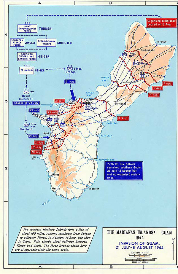 Battle Archives Map Marianas Campaign: Saipan, Guam, Tinian