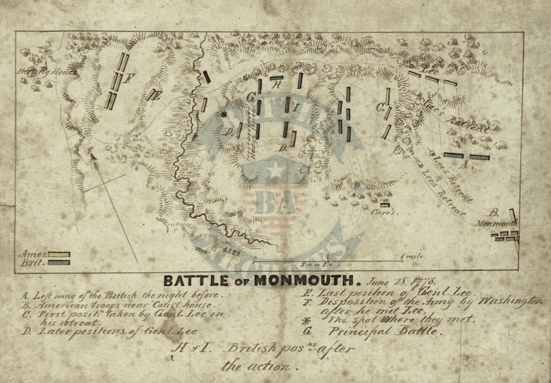 Battle Archives Map Monmouth, New Jersey