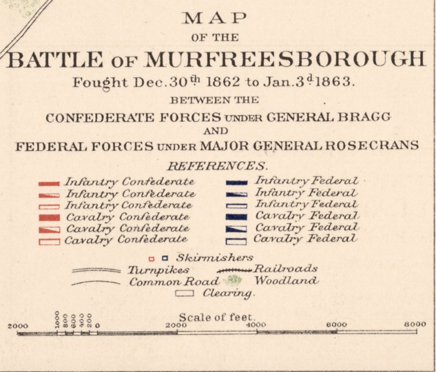 Battle Archives Map Murfreesborough, Tennessee #1