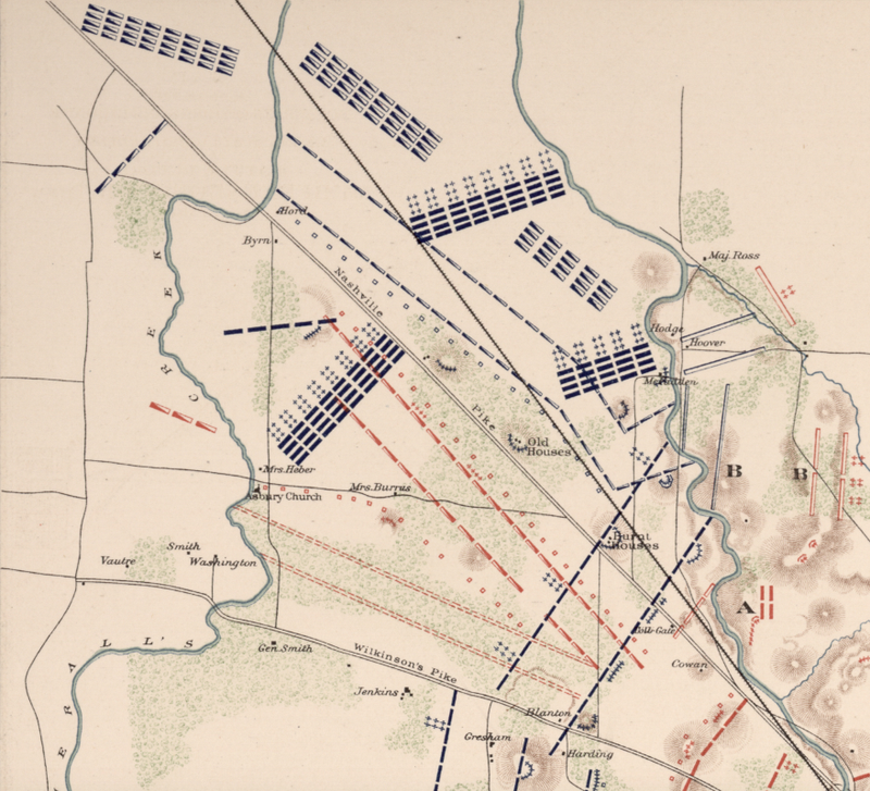 Murfreesborough, Tennessee Battle Map