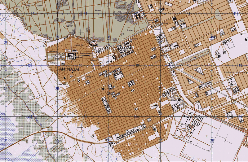 Battle Archives Map Najaf, Iraq City Topographical Map