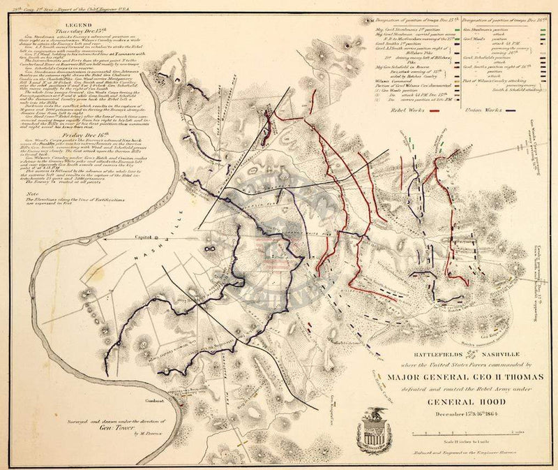 Battle Archives Map Nashville, Tennessee #1
