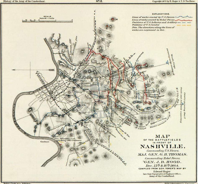 Battle Archives Map Nashville, Tennessee #2
