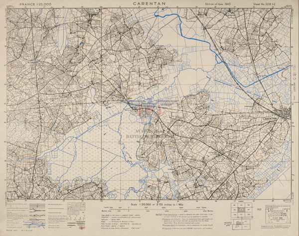 Battle Archives Map Normandy Carentan Topographical Map