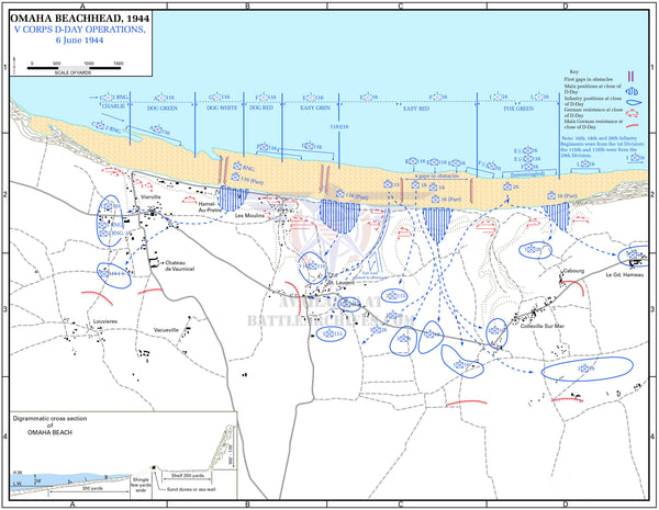 Battle Archives Map Normandy D-Day Omaha Beach Operations Battle Map