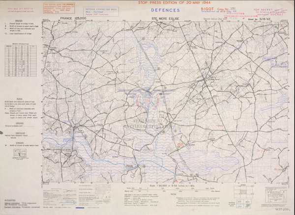 Battle Archives Map Normandy Ste. Mere-E'glise 1944 Topographical Map