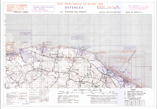 Battle Archives Map Normandy Western Omaha Beach and Point Du Hoc Defenses Battle Map