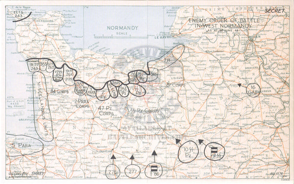Battle Archives Map Northwest France (German Order of Battle)