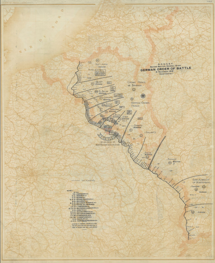 Battle Archives Map Order of Battle at Armistice #3