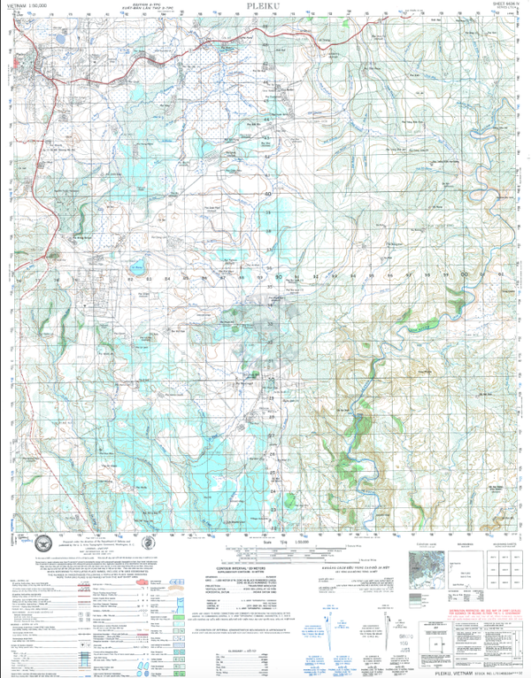 Battle Archives Map Pleiku, Vietnam Topographical Map