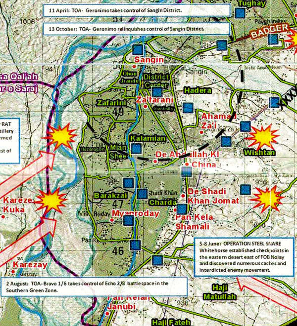 Battle Archives Map Sangin, Afghanistan