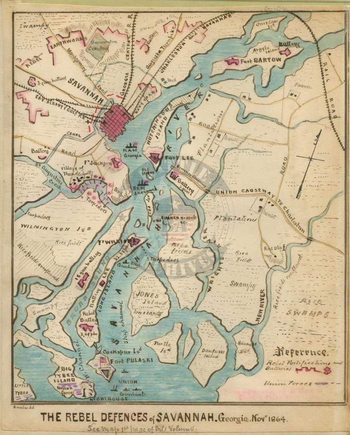 Battle Archives Map Savannah, Georgia #1