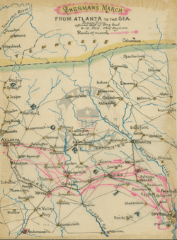 Sherman's March To The Sea #1 – Battle Archives on atlanta campaign map, george b. mcclellan, confederate states of america, bleeding kansas map, pickett's charge map, battle of fredericksburg map, battle of antietam map, james longstreet, gettysburg campaign map, american civil war, battle of perryville map, battle of nashville map, battle of atlanta map, jefferson davis, vicksburg campaign map, anaconda plan map, battle of shiloh, battle of fort sumter, fort sumter map, philip sheridan, appomattox court house map, battle of resaca map, george meade, battle of gettysburg, ambrose burnside, george armstrong custer, morgan's raid map, battle of vicksburg, ulysses s. grant, battle of antietam, stonewall jackson, robert e. lee, second battle of bull run map, chattanooga campaign map, battle of olustee map, american civil war map, first battle of bull run, george pickett,