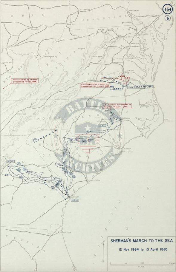 Battle Archives Map Sherman's March To The Sea #2