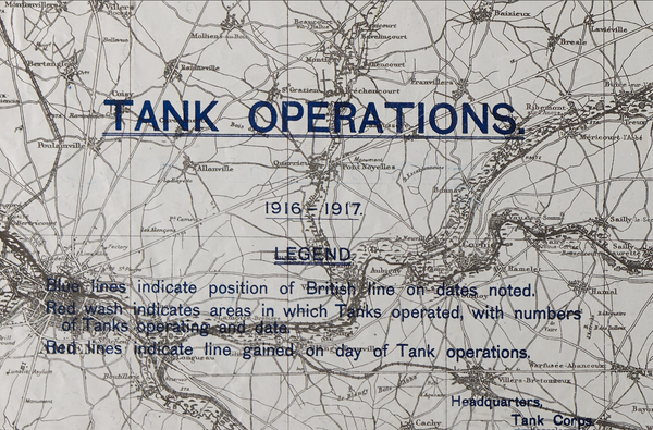 Battle Archives Map Tank Operations 1916-1917 Battle Map (Arras, Cabrai, Somme)