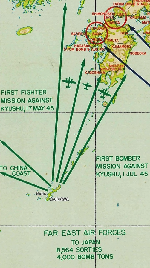Battle Archives Map Twentieth Air Force + Far East Air Forces Attack Routes on Mainland Japan
