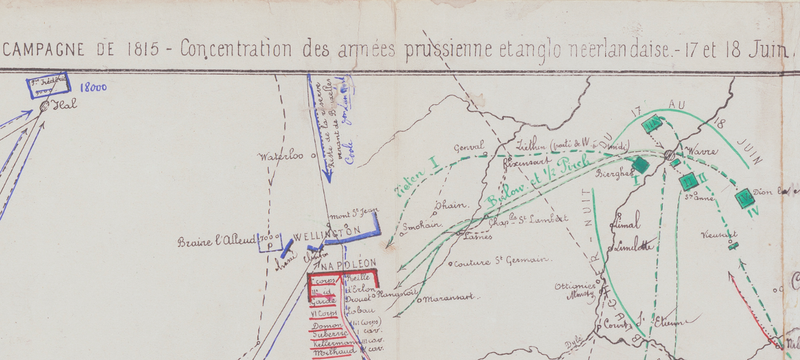Battle Archives Map Waterloo French Battle Map with Napoleon Movements