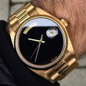 luxury brand watch men automatic rolix 36MM DAY DATE Big Black face Mechanics men's watches Sapphire original 18K Gold Stainless steel clasp - Scotch and Rocks