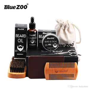 7pcs Set Beard Care Gift Kit Beard Oil and Wax Wood Comb Brush Stainless Barber Sissors PU wallet Mustache Grooming Trimming Set for Men - Scotch and Rocks