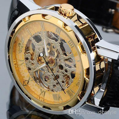 Lowest Price Luxury Men Mechanical Watch women Mechanical Skeleton Gold Sliver wristwatch Winner Hollow Stainless Steel Black Leather Band - Scotch and Rocks