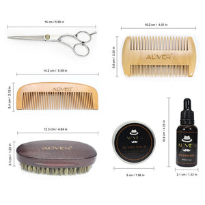 6pcs/set Men's Beard Comb Set Pig Hair Double-Sided Comb Scissors Wax Oil Template Beard Tool 13*13*6CM - Scotch and Rocks