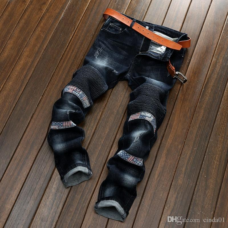 Men Locomotive Jeans Feet Pants Slim Pencil Pants Ripped Jeans Cool Elastic Distressed Folds Mens 3 Colour - Scotch and Rocks