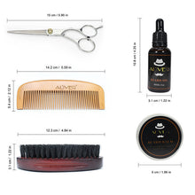 5pcs/set Men's Beard Comb Set Pig Hair Double-Sided Comb Scissors Wax Oil Template Beard Tool 15*9*6CM - Scotch and Rocks