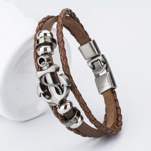 Men's  Leather Anchor Bracelet - Scotch and Rocks