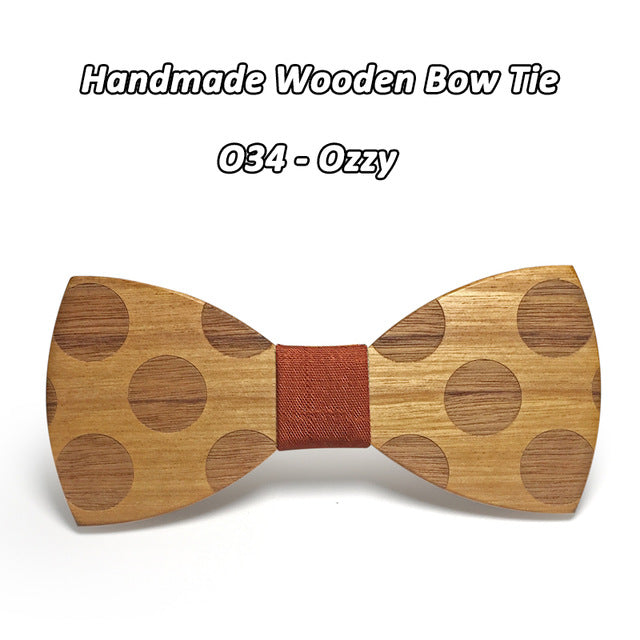 Classic Dot Wooden Bowtie - Scotch and Rocks