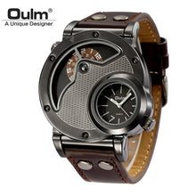 Oulm Unique Design Leather Strap Military Sport Wristwatch - Scotch and Rocks