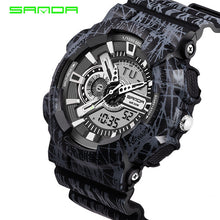 2017 Quartz Digital Camo Watch Men Dual Time Man Sports Watches Men SANDA S Shoc - Scotch and Rocks