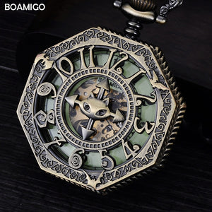 FOB men mechanical watches antique pocket skeleton watch arbic numbers analog di - Scotch and Rocks