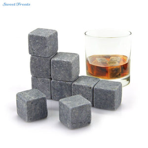 Reusable Ice Stone Chilling Rocks Cubes in Gift Box with Carrying Pouch Set of 9 - Scotch and Rocks