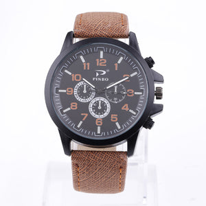 PINBO Casual Quartz watch men Women military Watches sport Wristwatch Leather Cl - Scotch and Rocks