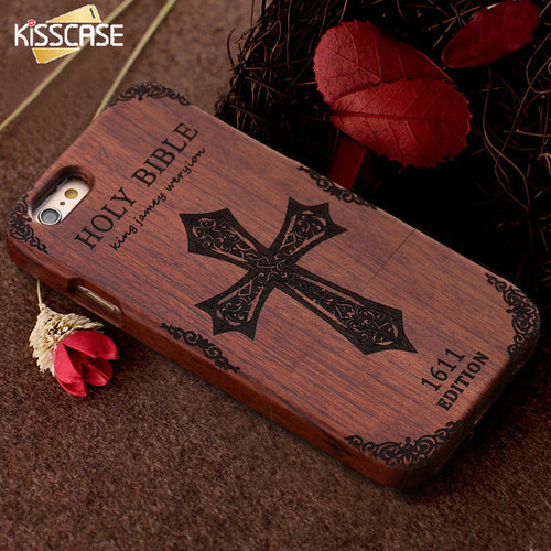 KISSCASE Retro Bamboo Wooden Case For iPhone 6 6s Plus 5 5s SE Hard Wood Phone C - Scotch and Rocks