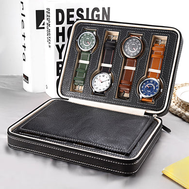 8 Grids PU Leather Watch Box Storage Showing Watches Display Storage Box Case Tr - Scotch and Rocks