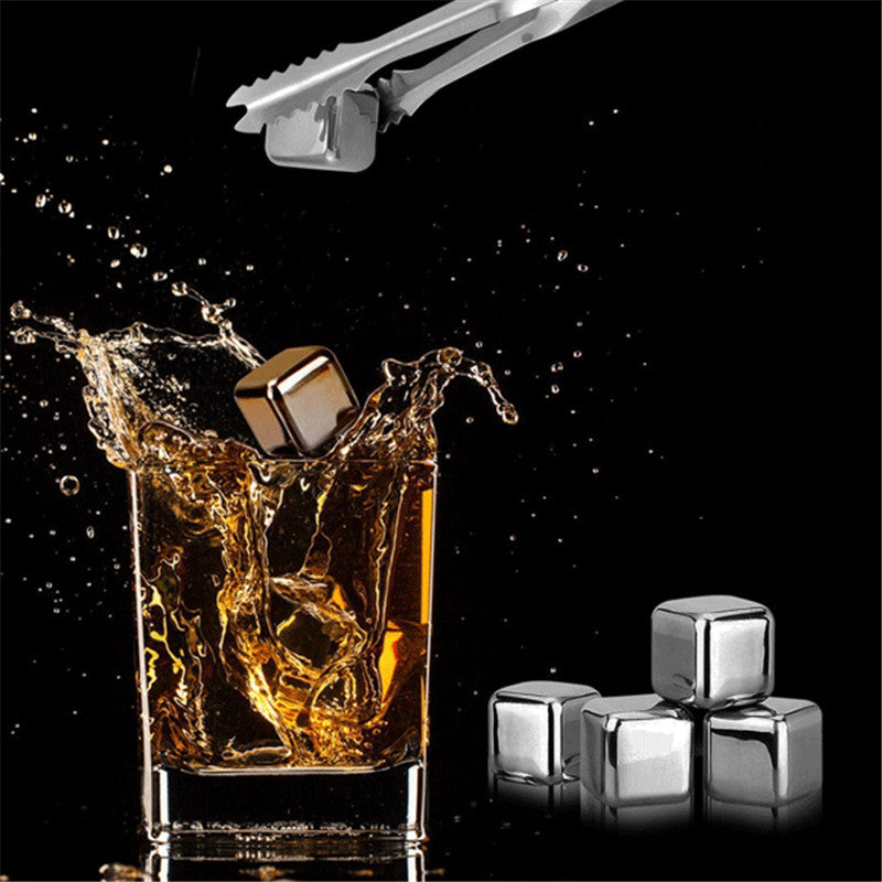 4 pcs Whiskey  Ice Stone Set Drinks Beer Cooler Cubes Reusable Food Grade Stainl - Scotch and Rocks