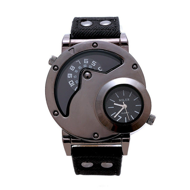 MILER New Punk Style Fashion Watch Men Vintage Leather Strap Double Dial Casual - Scotch and Rocks