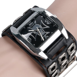 Watch Men Women Gothic Style Cool Metal Hollow Leather Strap Skull Quartz Watche - Scotch and Rocks