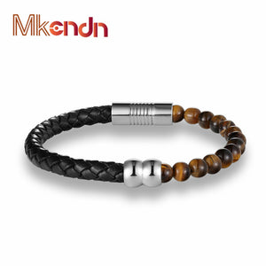 MKENDN Trendy Natural Beads Strand With Leather Bracelet Lava Rock Stone Bracele - Scotch and Rocks