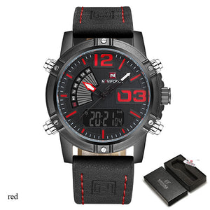 Men Sport Watches NAVIFORCE Brand Dual Display Watch Digital Analog Watch Electr - Scotch and Rocks