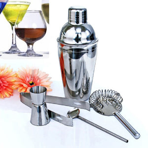 5Pcs/set 350ml Stainless Steel Cocktail Shaker Set Mixer Drink Hawthorn Strainer Ice Tongs Mixing Spoon Cup Kitchen Bar Tool - Scotch and Rocks