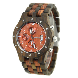 BEWELL Luxury Wooden Men's Watch - Scotch and Rocks