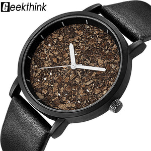 Geekthink Natural Gravel Stone Face Fashion Men Brand Quartz Watches Women Woode - Scotch and Rocks