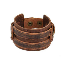 Handmade Men Alloy Buckle Punk Leather Wristband Bracelets Bangles - Scotch and Rocks