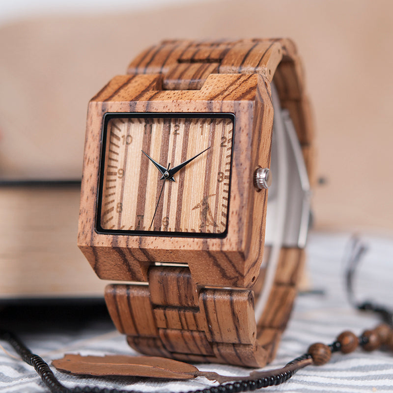 BOBO BIRD L24 Square Zebra Wood Bamboo Men's Top Quartz Casual Brand Watch relog - Scotch and Rocks